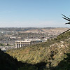 The view looking down on Mission Valley area of San Diego. At 100% view, the Westfield mall is visible below.