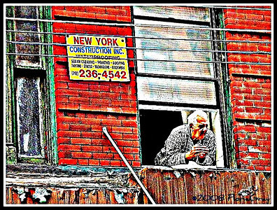 Windowguy, Little Italy  One of my all-time favorite captures!  This man is busy watching the set up for the first night of the San Gennaro festival in New York City's Little Italy.  The San Gennaro festival is one of the city's largest and most popular street fairs and takes place every fall.  www.youtube.com/watch?v=x3bfLtgymF0&feature=related  Not to be reproduced without the written permission of Florence T. Gray