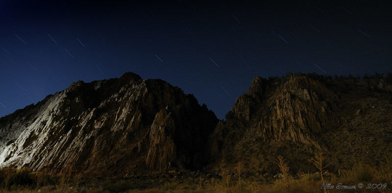 Centennial Bluff, Antelope Valley at night at Meadow Cliff RV park. 15 minute exposure, notice the streaked stars.