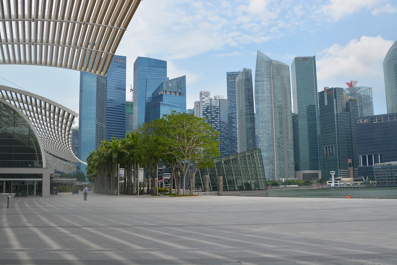 Singapore skyline view from outside the Art Science Museum.