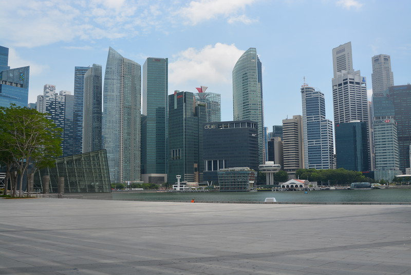 View of the Singapore skyline with Louis Vuitton Island Maison visible, taken from outside the Art Science Museum.