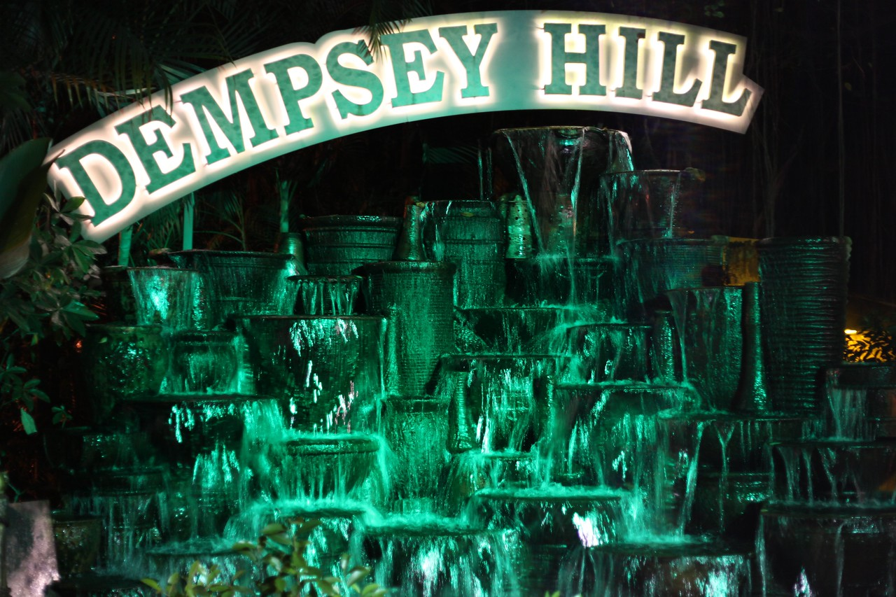 9pm - Illuminated water feature at Dempsey Hill Dempsey Hill,  Singapore 03/2012