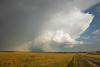 Storm moving away from Devils Tower, Wyoming