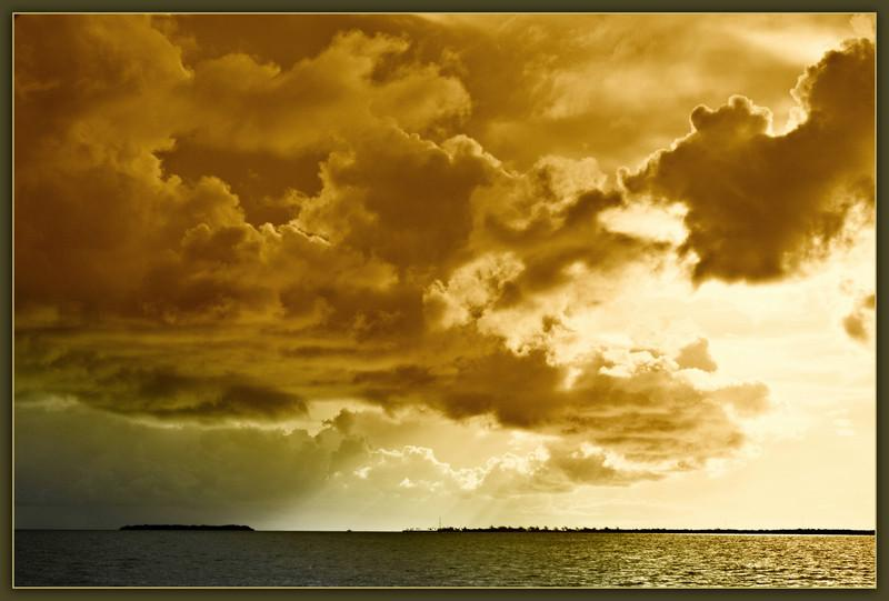 Vaca Key Passage into Florida Bay. Storm clouds gather on a summer morning.