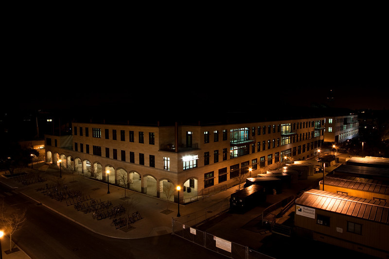 Stanford's Y2E2 at night, as viewed from Parking Structure 2.