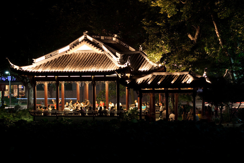 The little pavilion near Duanqiao in Hanzhou, China, with some local performances