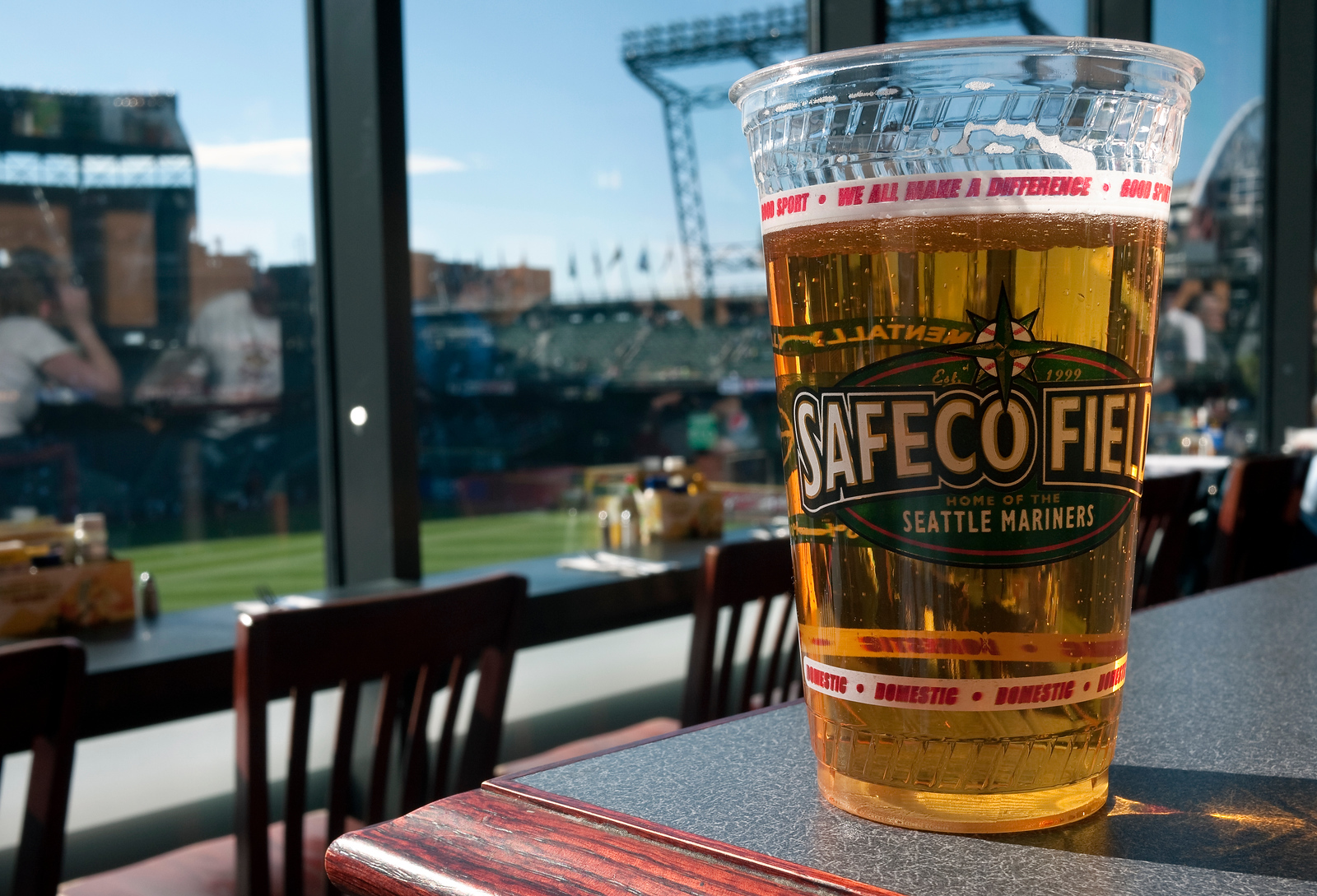 8 May 2010: Enjoying a beer in the Hit It Here Cafe at Safeco Field.