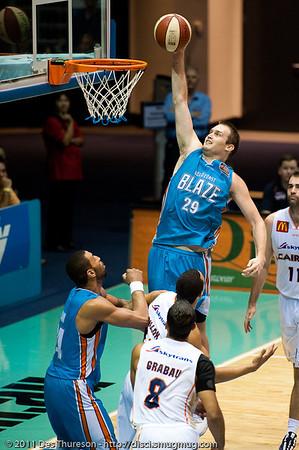 """Mark Worthington with the uncontested layup - Gold Coast Blaze v Cairns Taipans NBL Basketball, Wednesday 19 January 2011; Gold Coast Convention & Exhibition Centre, Broadbeach, Queensland, Australia. Photos by Des Thureson:  <a href=""""http://disci.smugmug.com"""">http://disci.smugmug.com</a>"""