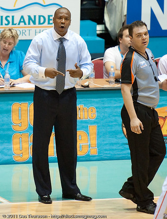 "Blaze Head Coach Joey Wright - Gold Coast Blaze v Cairns Taipans NBL Basketball, Wednesday 19 January 2011; Gold Coast Convention & Exhibition Centre, Broadbeach, Queensland, Australia. Photos by Des Thureson:  <a href=""http://disci.smugmug.com"">http://disci.smugmug.com</a>"