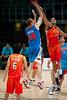 Tom Garlepp shoots under heavy pressure - Pre-Season NBL International Basketball: Gold Coast Blaze v Anyang KT & G Kites - Korea; Logan City, Queensland, Australia; 2010.