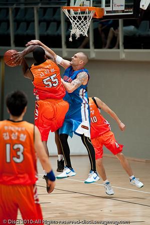 James Harvey competes inside - Pre-Season NBL International Basketball: Gold Coast Blaze v Anyang KT & G Kites - Korea; Logan City, Queensland, Australia; 2010.