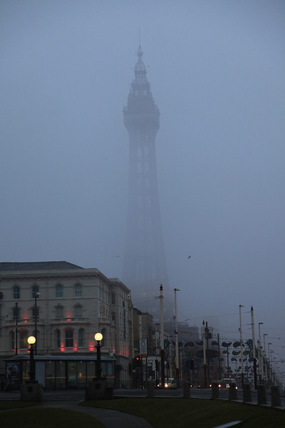 Blackpool Tower emerging from an early morning mist