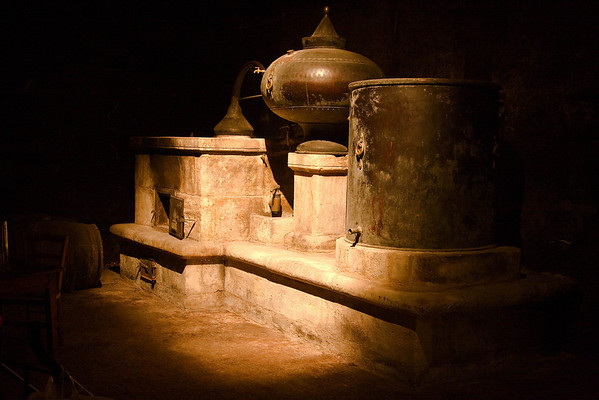 very old brandy still - seen during a visit to the Henessey Brewery in Cognac, France.