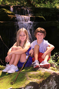 Reece and Reagan at a small waterfall on Little Trillium Creek in the Greenbrier section of GSMNP.