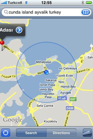 We spent a part of our summervacation on the Island of Cunda, near Ayvalik, on Aegean sea (Turkey)<br /> (Screendump while Maps running using GPS)