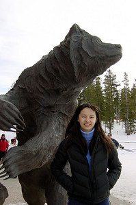 DAY 1 - Valerie stands by the bear at Canyon Lodge, her first time ever at Mammoth Mountain and my first visit in perhaps fifteen years.  A lot has changed since the last time I skied here including the name of this lodge (formerly known as Hut 2).  This weekend, Valerie and I will both take our first snowboarding lessons...I don't recall seeing a snowboarder the last time I skied here!