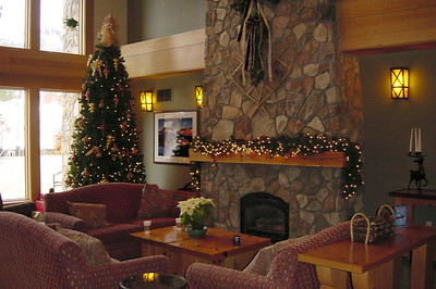 Juniper Springs' Main Lobby is cozy...and still decorated for Christmas
