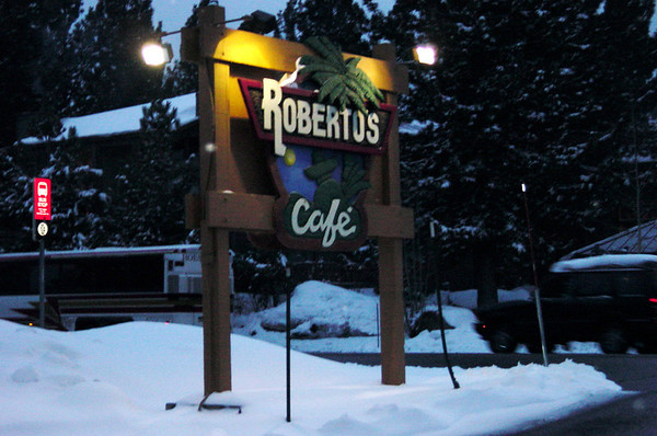 And after our first day on the mountain, we dined at Robertos.  It was snowing all day, so I didn't take pictures while we were boarding