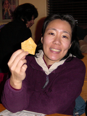 Lori holds a chip