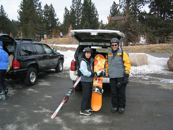Valerie and Eric grab their snowboards from Marc's SUV...just a short walk from Little Eagle (photo by Marc)