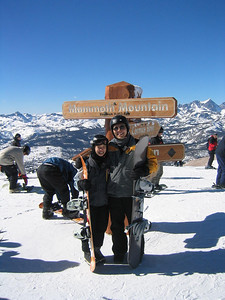This is Valerie and my first time standing by the sign at Panorama Lookout...the summit of Mammoth Mountain.  Despite crystal clear skies, the temperature at 11,053 feet is a chilly 15 degrees!  While Marc tackles the Cornice, Valerie and I ride the gondola back down to McCoy Station (photo by Marc)