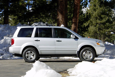 Not only does the Pilot's four wheel drive offer some advantages when we hit the white stuff, its spacious interior makes riding up to the mountains with Paul and Bernice much more comfortable