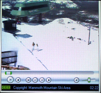 DAY 1 - Valerie and I call Paul (who couldn't join us on this outing) and tell him to view the webcam at the Top of Face Lift (http://www.mammothmountain.com).  Though jealous, he snapped this picture for us (we're the blurry figures standing in the left-bottom third of the image)