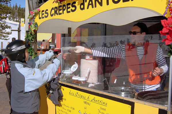 Val eagerly claims our Nutella crepe...mmmmm!