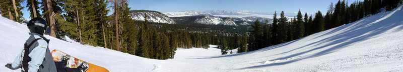 DAY 4 - I take a panoramic shot from Upper-Downhill.  Though the forecast is for mostly cloudy skies with increasing winds and at least a 10 degree drop in temperature, we find weather as nice as our first three days on the mountain (NOTE: I forgot to bring my camera on Sunday)