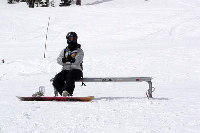 Snowboarding is like a box of chocolates? Though snow is in the forecast (and it snowed 9 inches over Thursday and Friday), sun follows us all the way to Mammoth. With daytime highs remaining well below freezing, the surface conditions rank among the finest we have ever ridden!