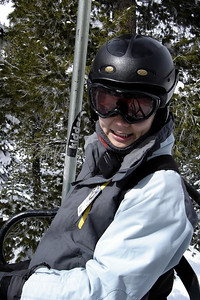 Riding Chair 8, Valerie is thrilled to see fresh snow on the trees...