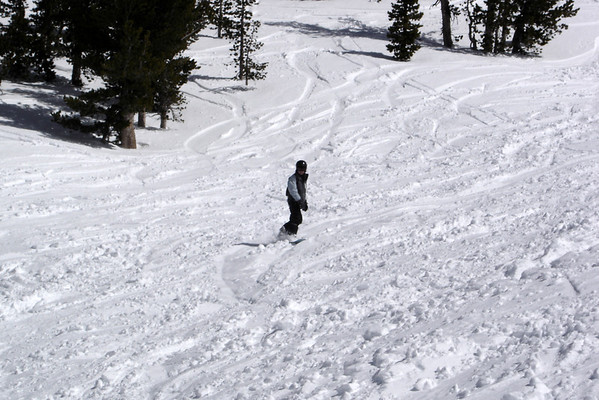 She is finally learning how to ride in powder...
