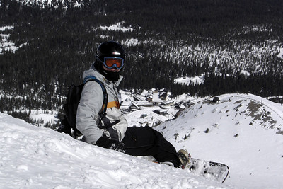 Pete closes his eyes before making his first ever run down the Cornice