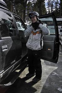 Pete straps on his helmet