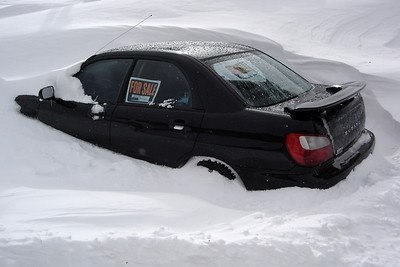 We walk past a snow covered Subie...priceless!
