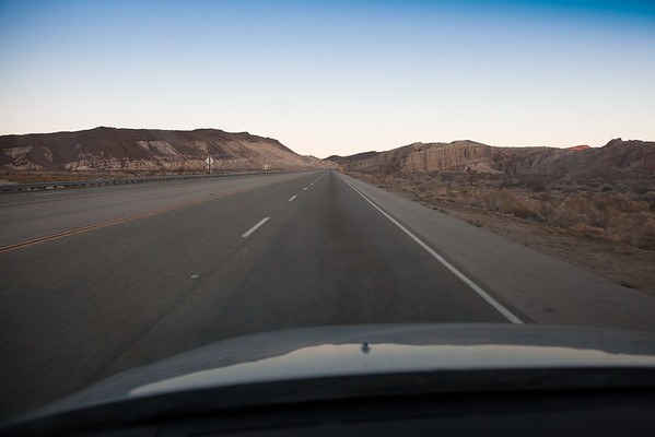 We are making good time...our caravan approaches Red Rock Canyon before sunrise