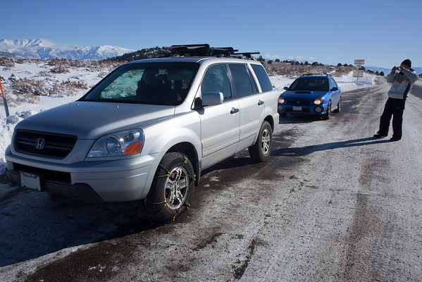 Half-an-hour later and we are ready to roll (Pilot went quickly, but this was our first time putting chains on the Subie)
