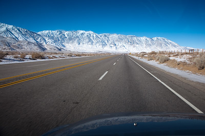 Continuing up Highway 395 from Bishop, we start wondering how far we will be able to get before chains will be required