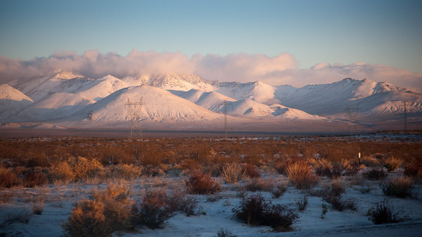 Dawn's first light touches snow covered mountains to the west (photo by Valerie Iwasaki)