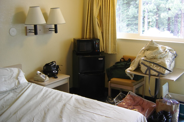 The room is a bit smaller than our usual accommodations at the Holiday Inn (and it lacks free wi-fi), but it still has a microwave, a fridge, and cable TV