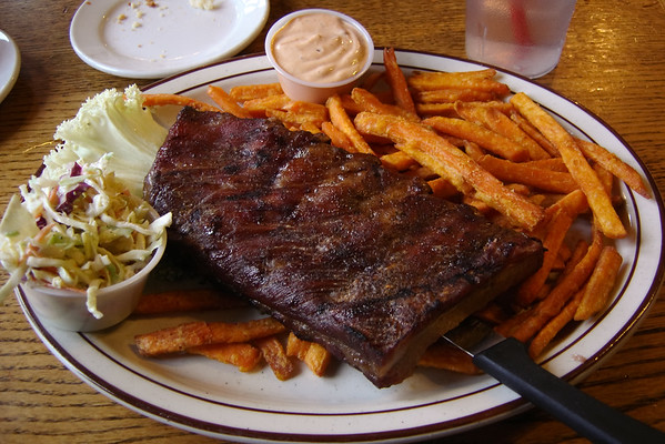 Valerie and I share an order of Angel's always satisfying BBQ pork ribs with sweet potato fries...