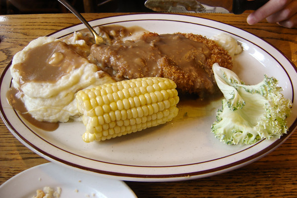 ...and chicken fried steak (one of tonight's specials).  Valerie is disappointed by the side of vegetables, but the steak is great