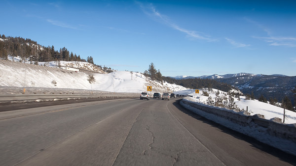 Driving east on Interstate 80 through the Donner Pass