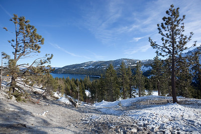 We stop at a vista point to catch our first glimpse of a lake...Donner Lake.