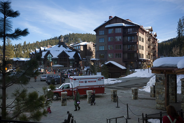 """We find our way to the day parking lot for the Village at Northstar because we need to pick up our """"Quad Pak"""" lift passes from the resort's season pass office"""