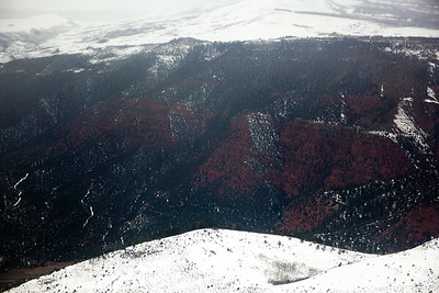 White snow, red rock