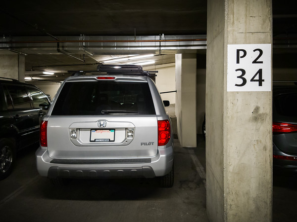 I find an easy-to-remember spot in the parking garage while Pete and Valerie check in