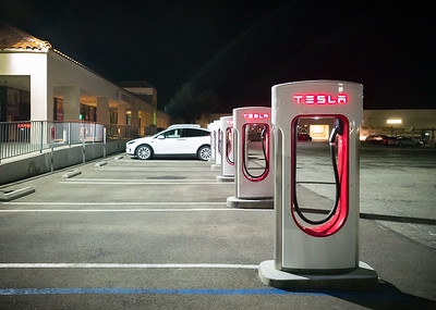 We head back to the car...still the only Tesla at this Supercharger location.  A Model S had stopped here shortly after we arrived, but was probably gone long before we received our dinner order.