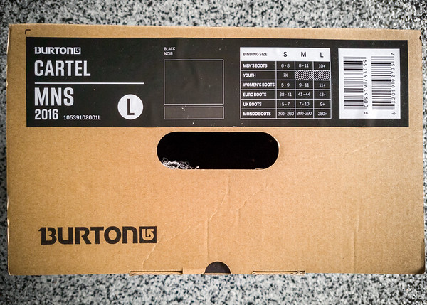 Even though my new bindings are made by Burton and are packaged with mounting discs to adapt the Cartel to a wide range of snowboards, my particular Burton board must be old enough that its compatibility is no longer a priority