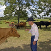 """Tex says """"Hello"""" to one of his pet cows."""